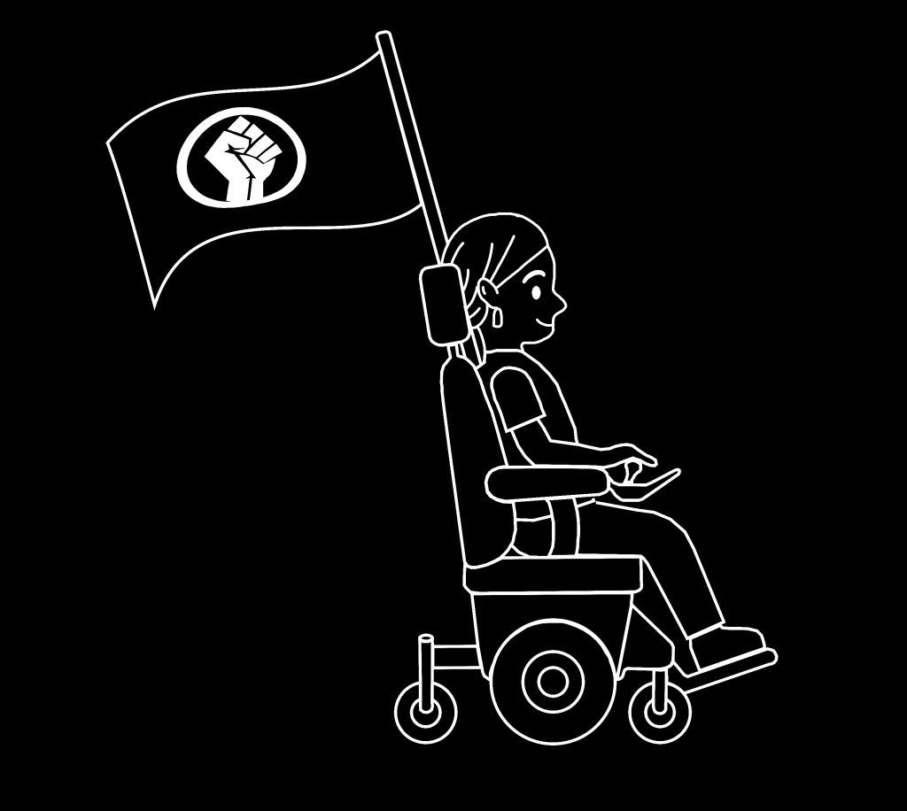A person with a hair cover and square earrings is riding a wheelchair. A flag with a fist sign is waving behind, attached to the wheelchair.