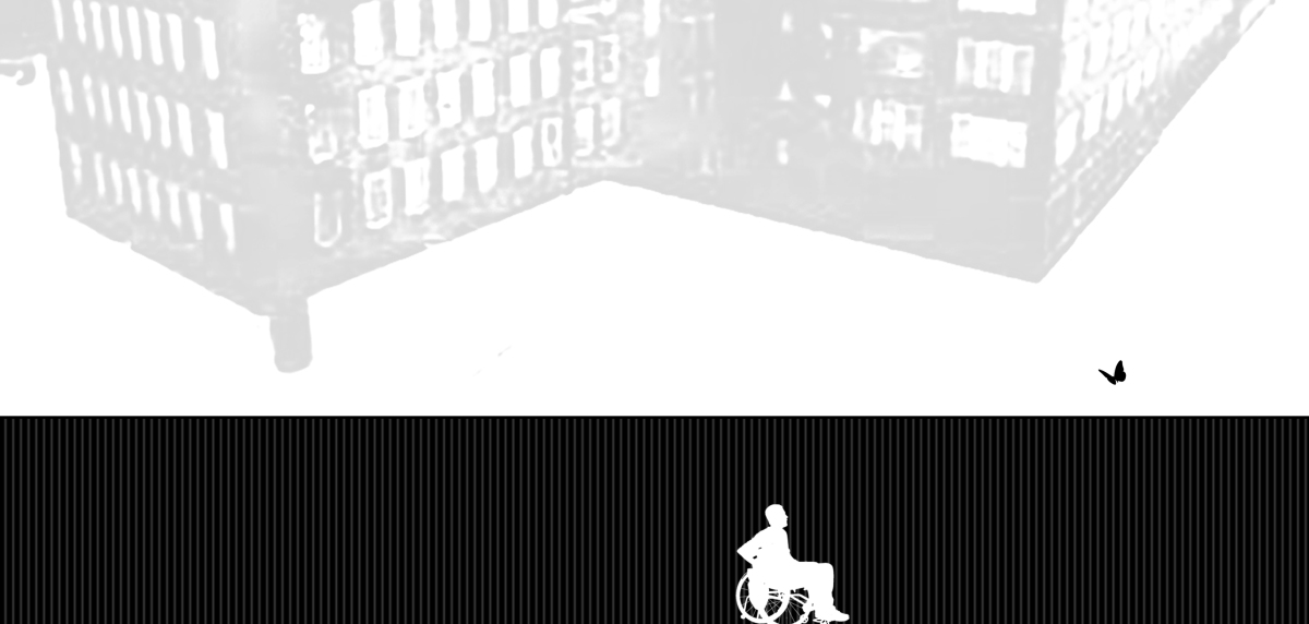 A person using a wheelchair is moving toward a butterfly, which is flying over a wall located in front of the person. In the sky is a massive building made with bricks floating above them.